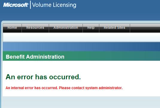 MS Site Failing Again